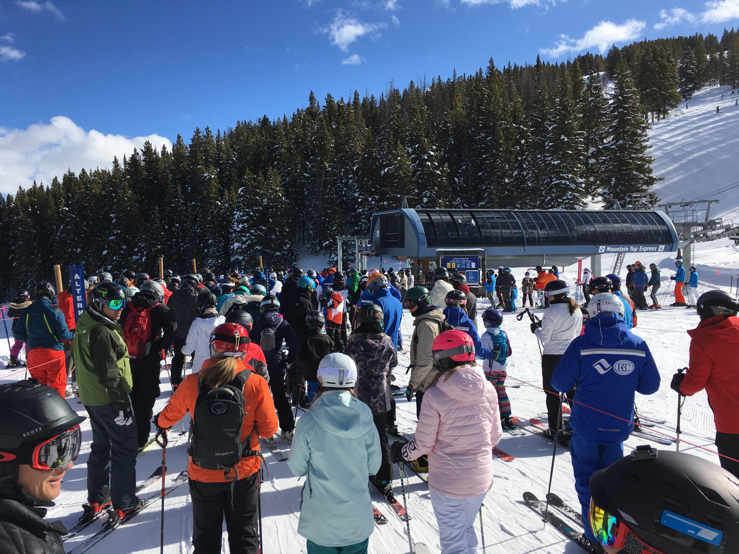 This line at the Mountain Top Express lift at Vail Mountain took about eight minutes to get through on Saturday, Feb. 15, 2020.