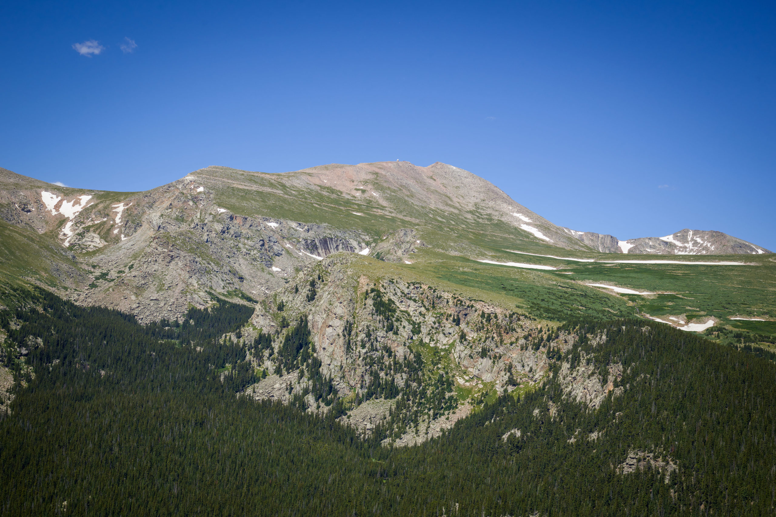 Aerial view of Mount Evans, at 14,241 feet the highest peak in the Chicago Peaks of the Front Range of the Rocky Mountains, in Clear Creek County, Colo., July 10, 2016.