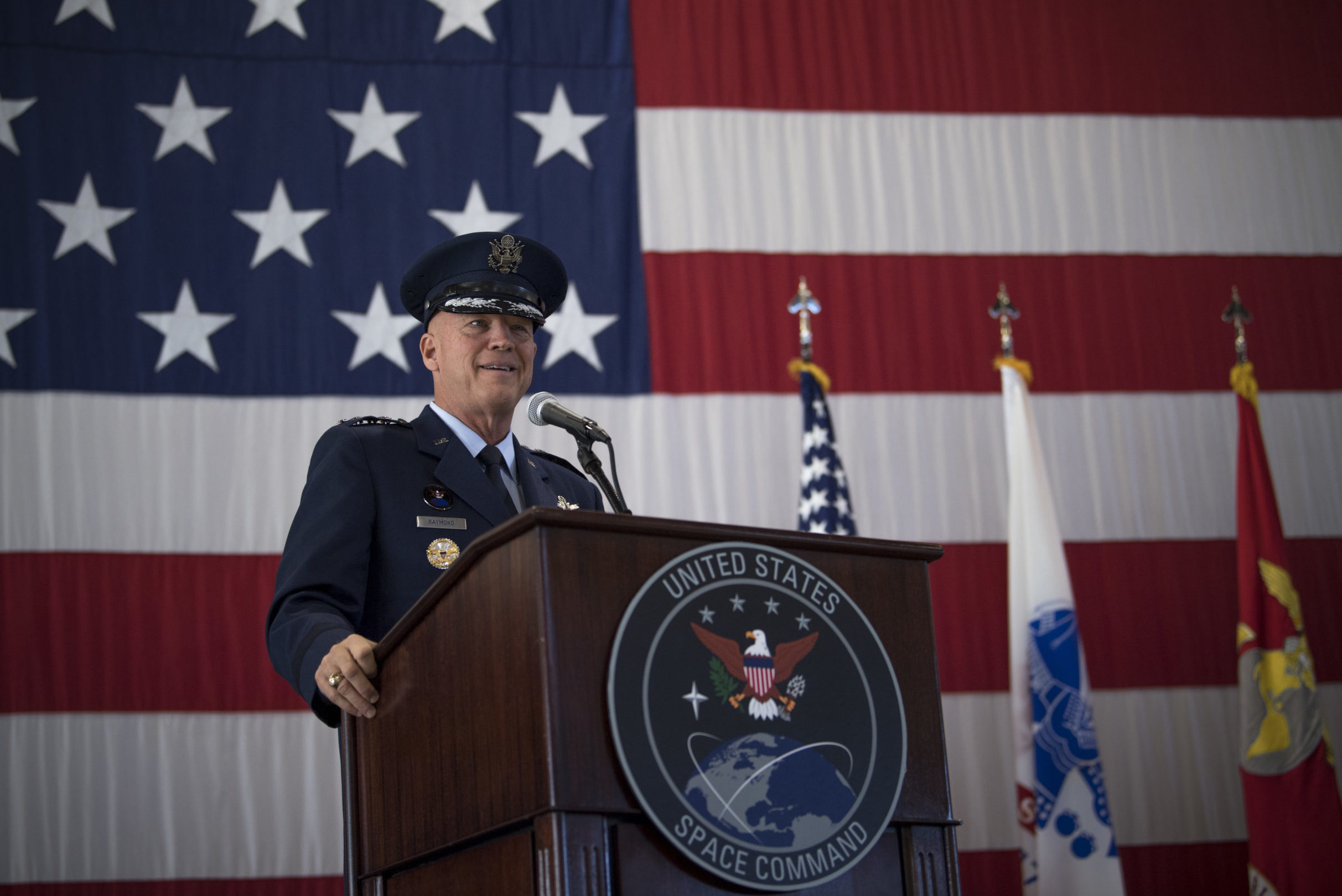 """Gen. John W. """"Jay"""" Raymond, U.S. Space Command commander, recognized the establishment of the nation's 11th combatant command in a joint ceremony at Peterson Air Force Base, Sept. 9 2019."""