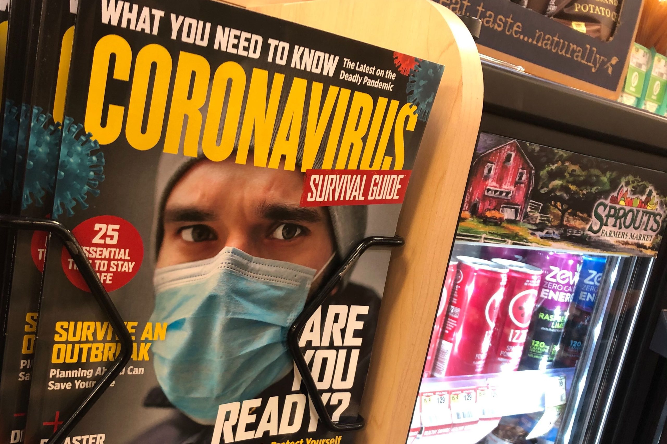 """Billing itself as a """"survival guide,"""" this magazine faced customers at the check out line at a Denver-area Sprouts supermarket Sunday March 8, 2020."""
