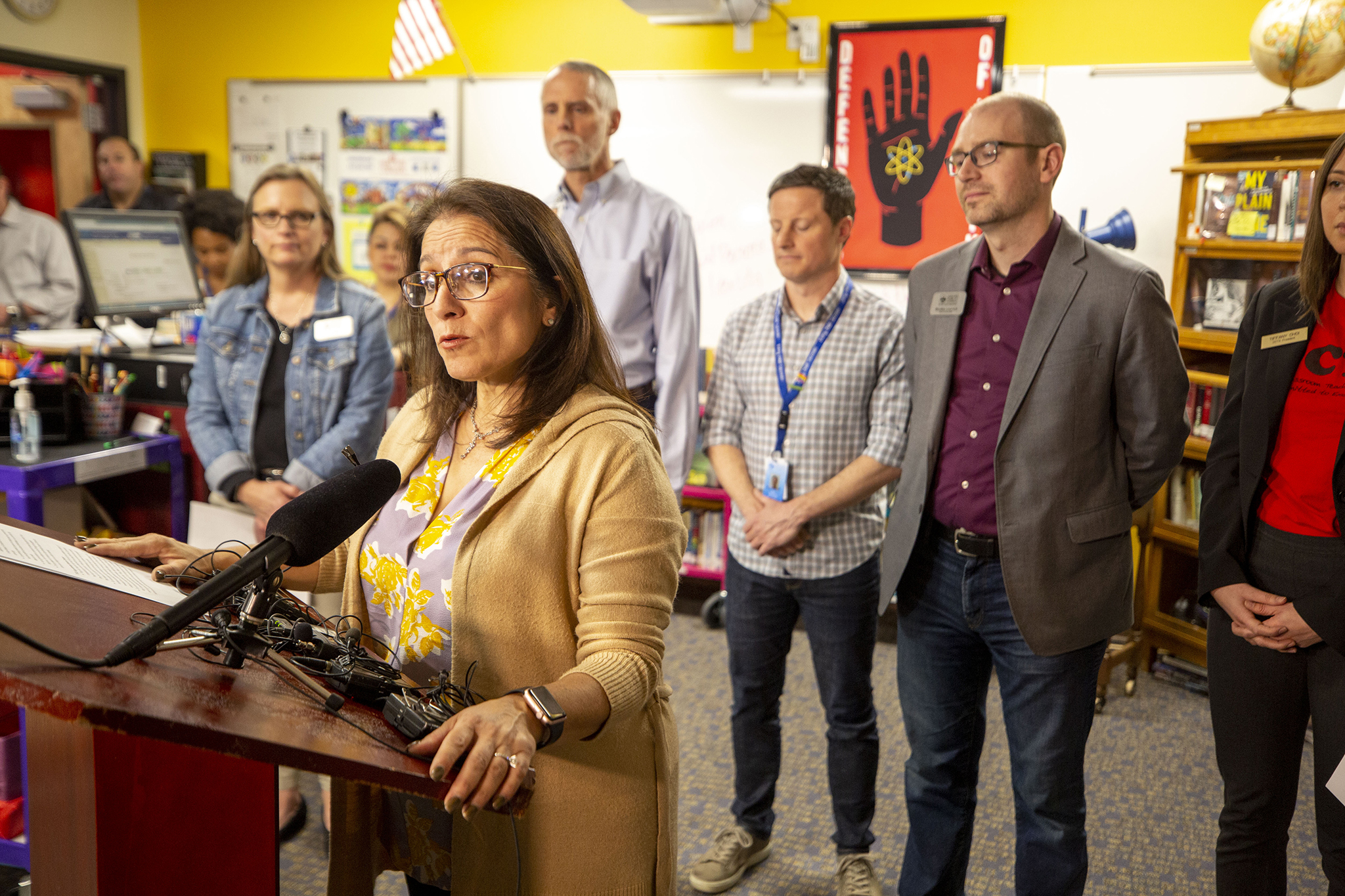 Denver Public Schools Superintendent Susana Cordova announces an extended spring break to protect students from COVID-19 on March 12, 2020.