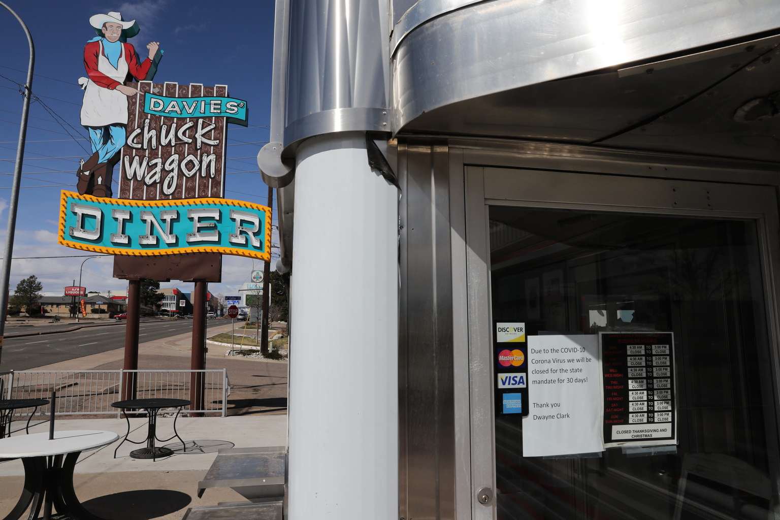 Davies Chuck Wagon Diner in Lakewood is closed Monday, March 23, 2020, the morning after Gov. Jared Polis advised people to stay home because of the coronavirus outbreak.