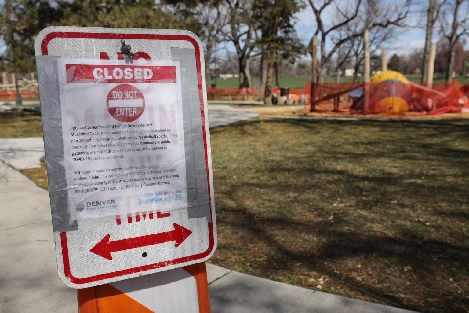 Denver Washington Park Playground Closed During Coronavirus Outbreak