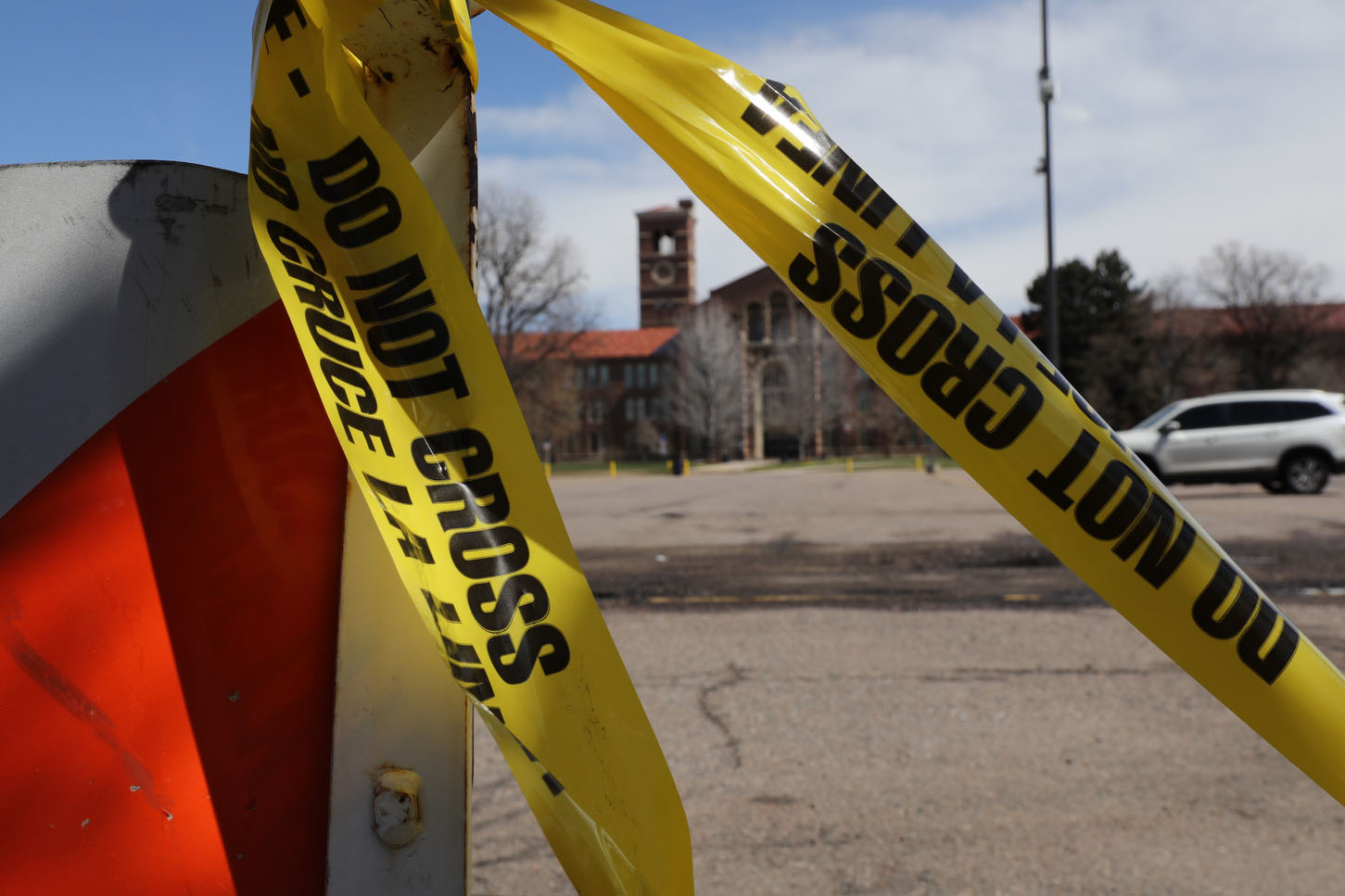 Denver South High School Pasrking Lot Police Tape