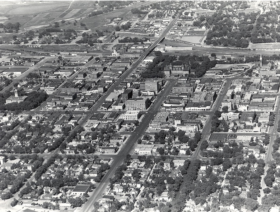 Aerial view of downtown, 1949