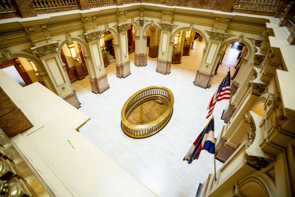 Some hallways at the state capitol were already empty on March 12, 2020, days before the legislature agreed to suspend its session.