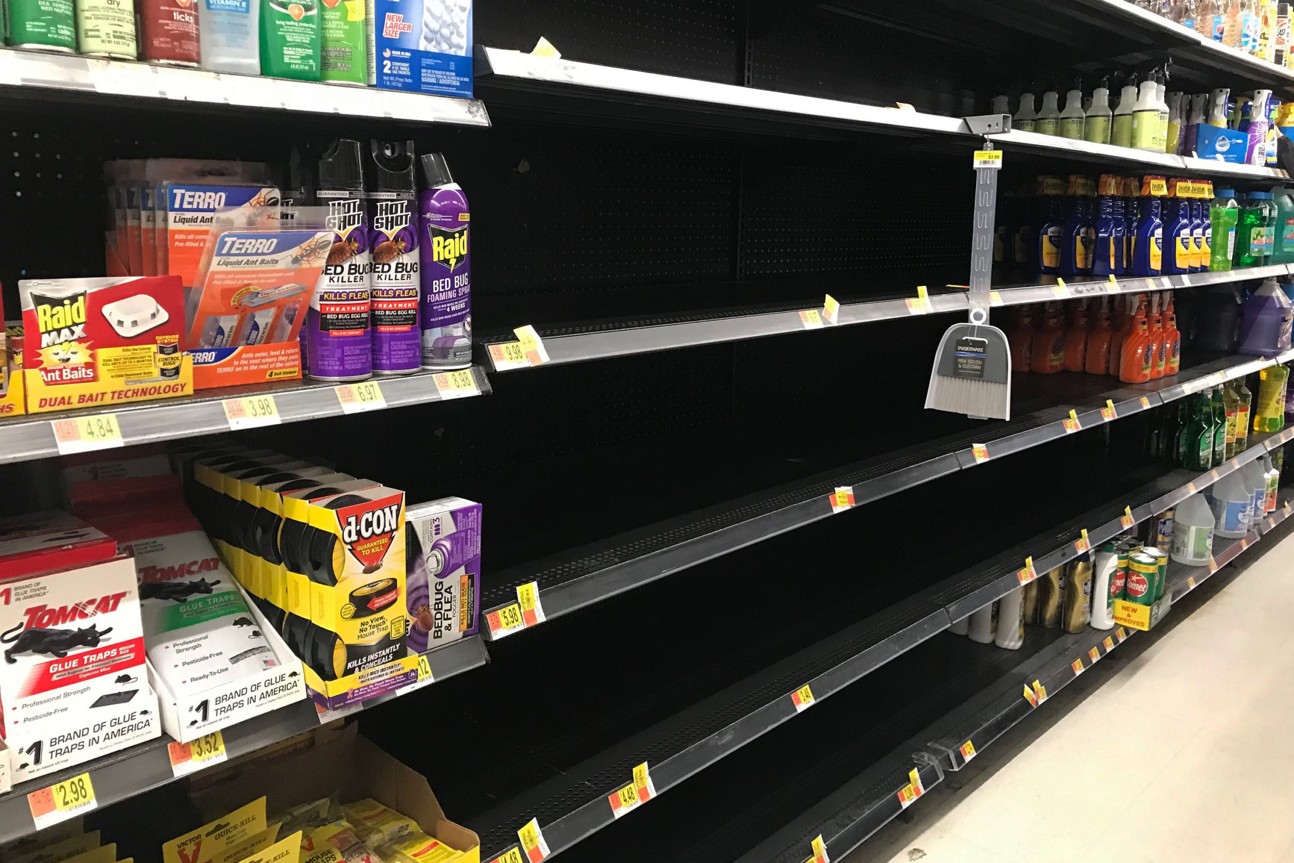 A shelf emptied of cleaning supplies at a Walmart in Summit County.
