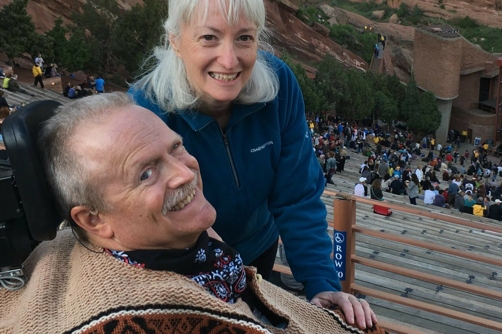 Robin Bolduc of Boulder with husband Bruce Goguen at Red Rocks Park and Amphitheatre.