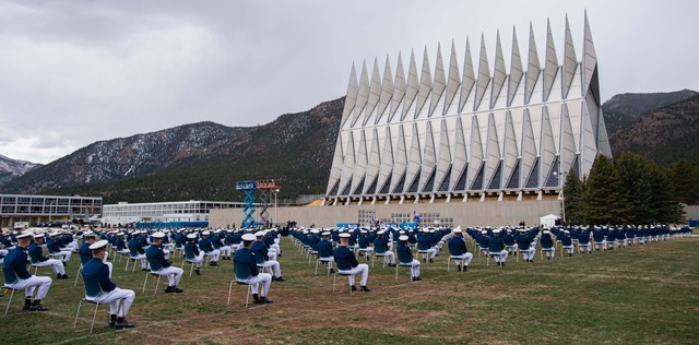 Cadets social distance at the Air Force Academy graduation 2020
