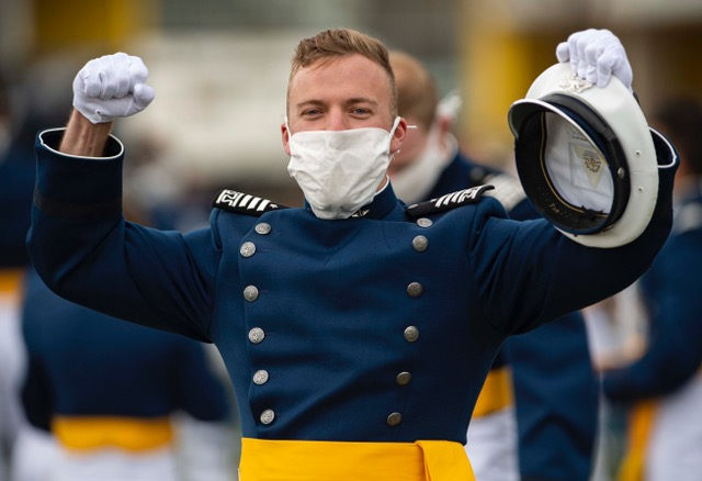 Cadet celebrates at the Air Force Academy graduation 2020