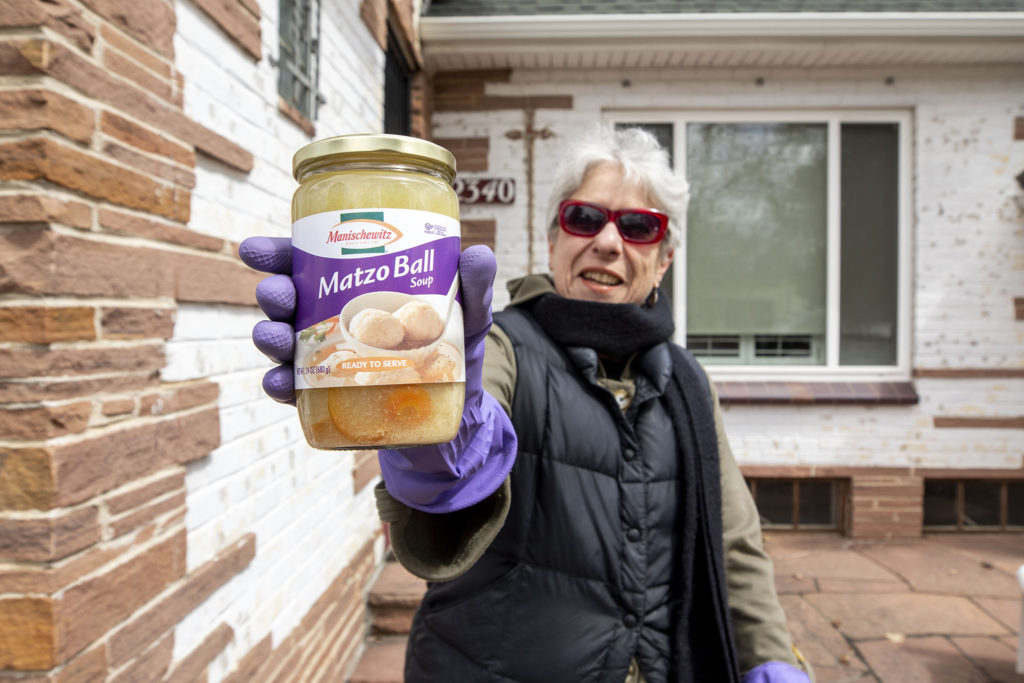Johanna Ladis and her family delivered matzo ball soup to Helen Spiegel, who's not leaving the house during the COVID-19 outbreak on April 3, 2020.