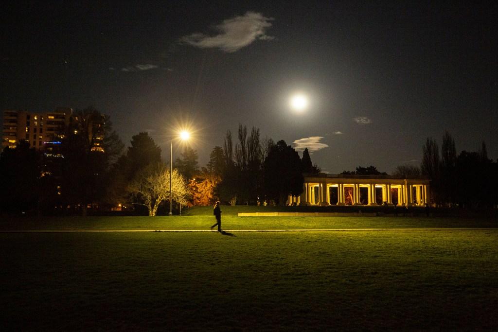 Cheesman Park after dark. April 7, 2020. (Kevin J. Beaty/Denverite)