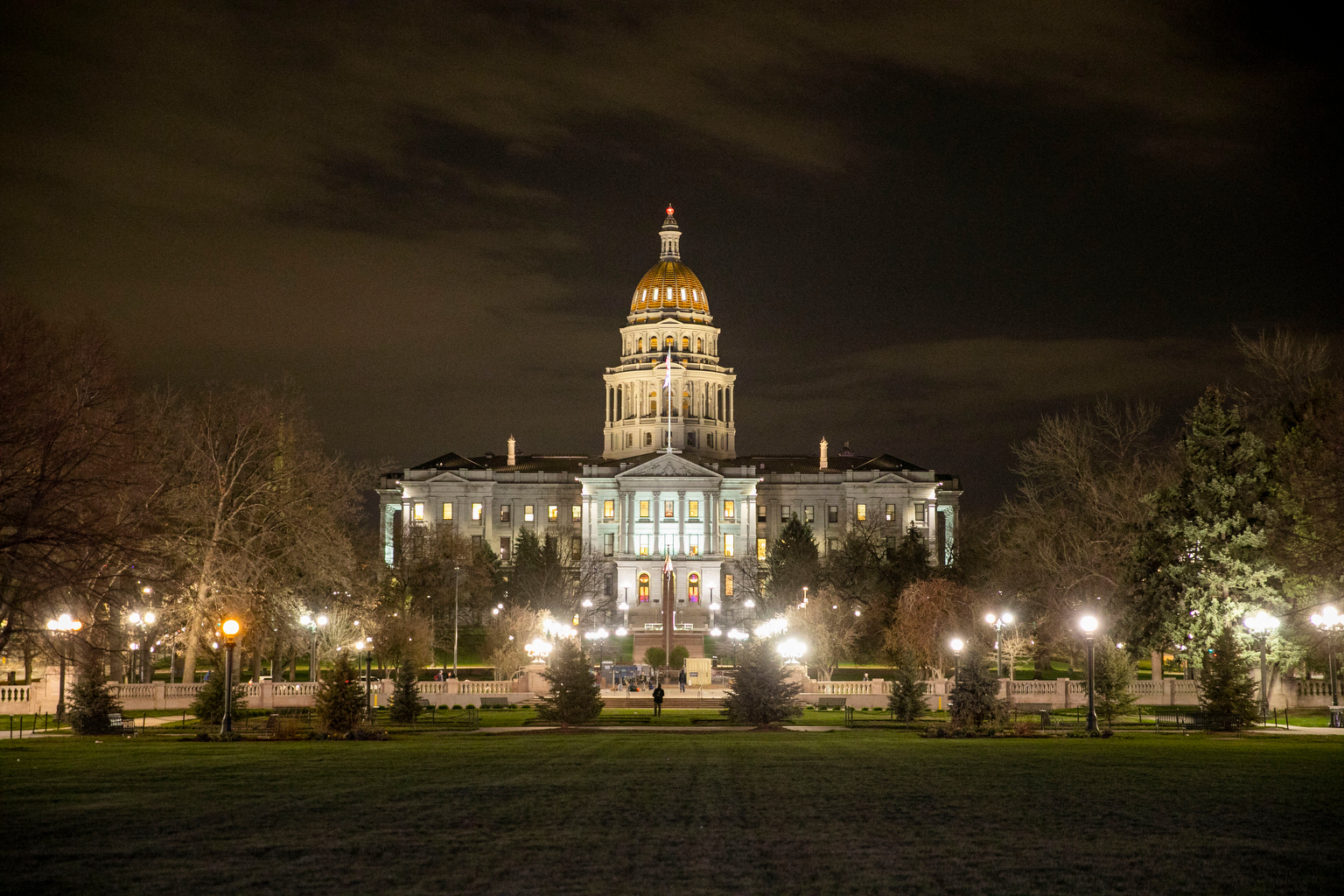 Colorado state Capitol building at night