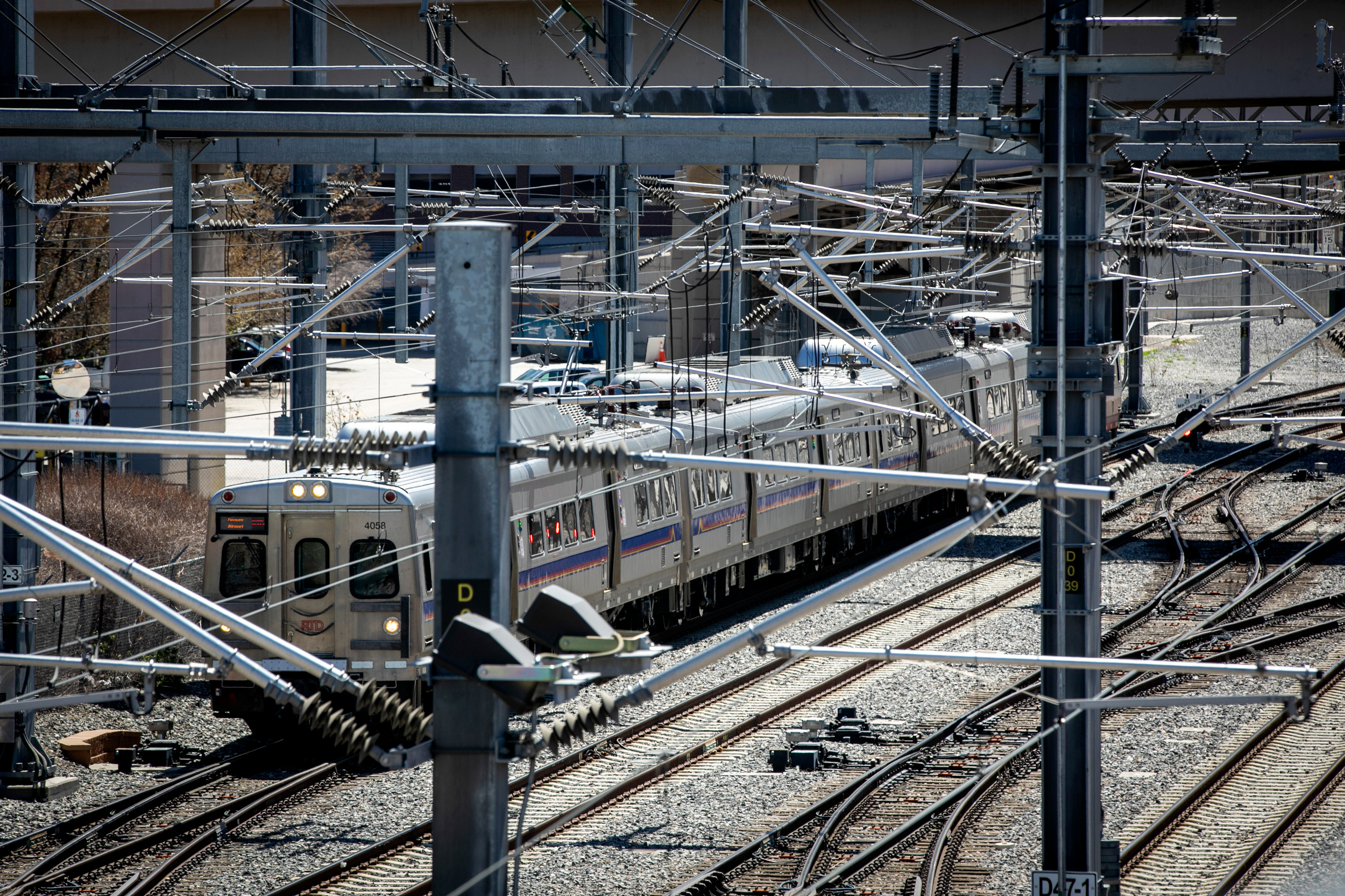 RTD commuter rail trains in downtown Denver