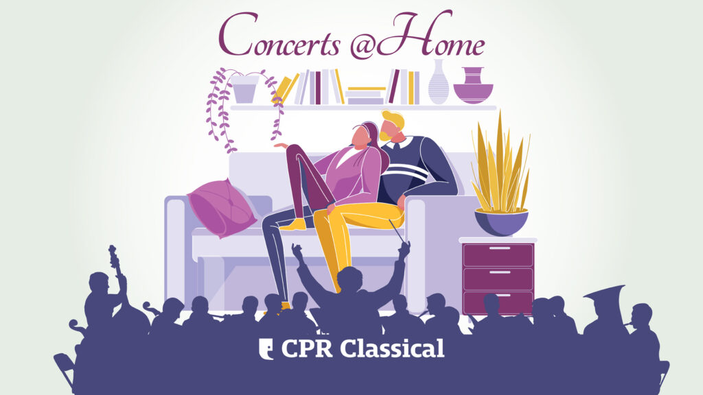 "Digital illustration of two people sitting at home on a couch with the silhouette of an orchestra in front of them along with the words ""Concerts@Home CPR Classical"""