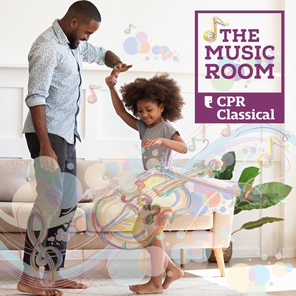 "A young girl spins while holding her father's hand with overlay of musical instruments and the words ""The Music Room CPR Classical"""