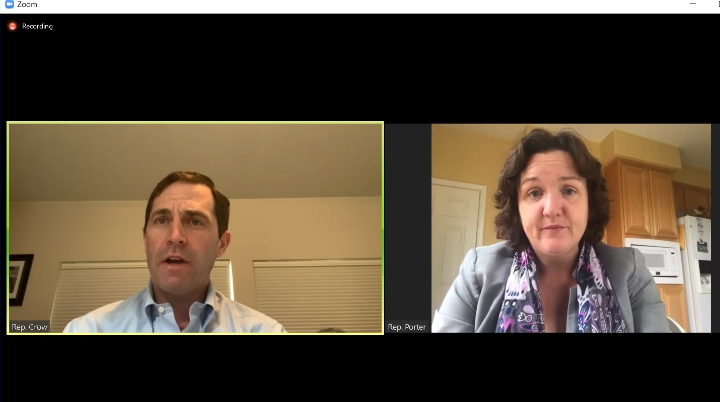 Rep. Jason Crow, D-Colorado, and Rep. Katie Porter, D-California, discuss a bill over Zoom on April 9, 2020.