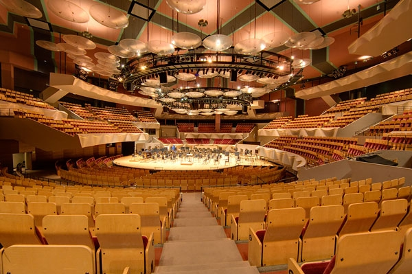 Boettcher Concert Hall, home of the Colorado Symphony in Denver, sits empty during the Coronavirus shutdown