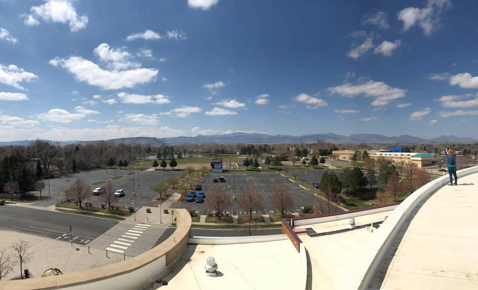 A view of the parking lot at Faith Bible Chapel in Arvada, where hundreds of cars are expected to park on Easter Sunday, April 12, 2020 for drive-in services.
