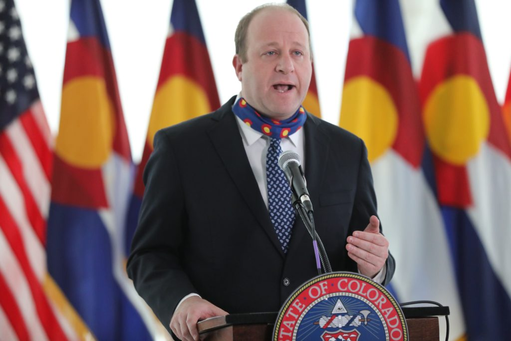 Gov. Jared Polis gets emotional Wednesday, April 15, 2020, during a news update on COVID-29 response.