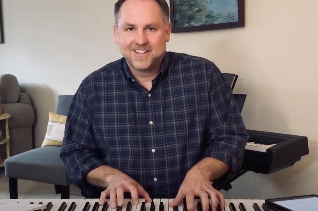 Matt Weesner at the keyboard practicing