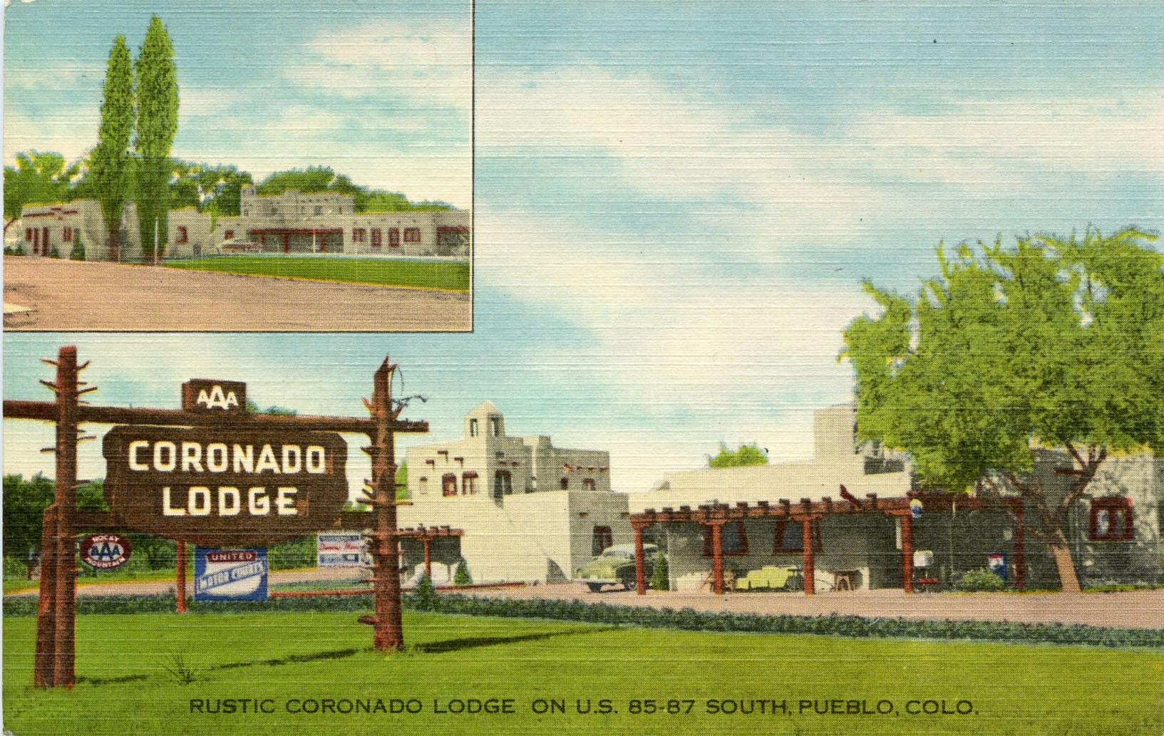 An old postcard featuring the Coronado Motel in Pueblo