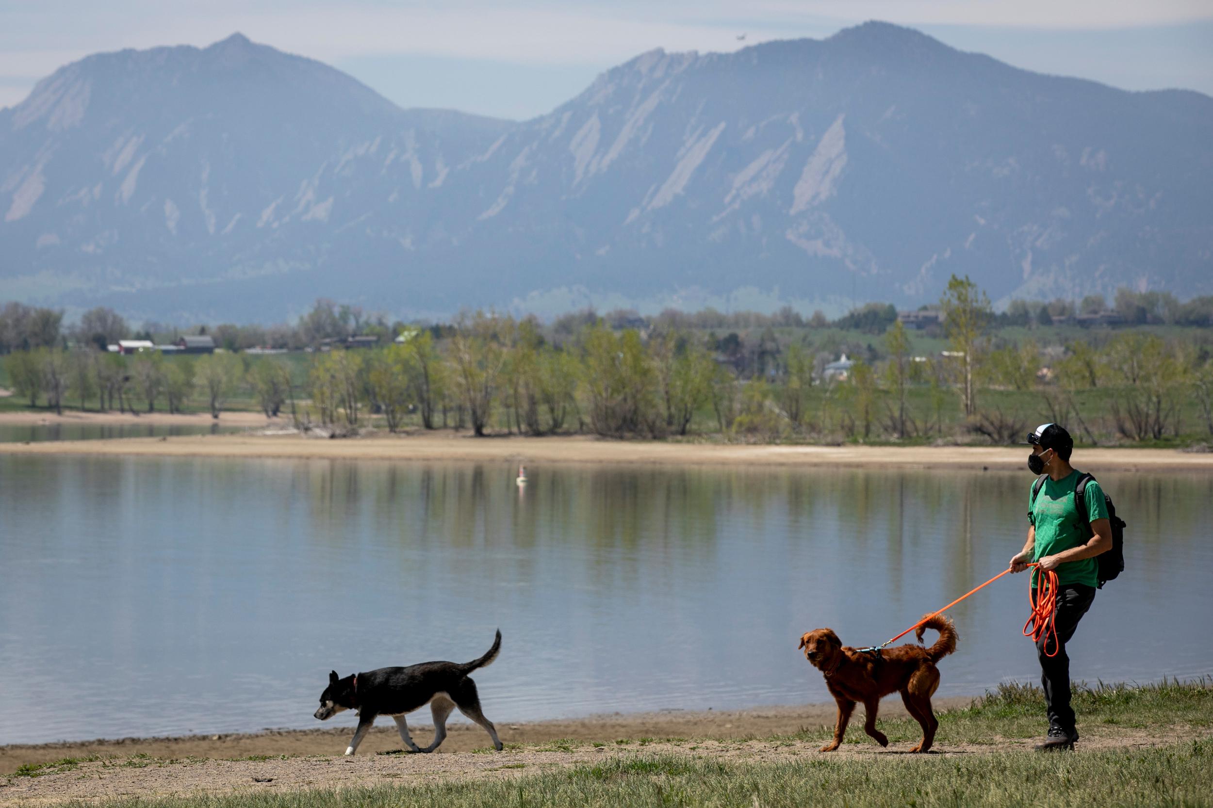 Walking the dogs at Boulder Reservoir