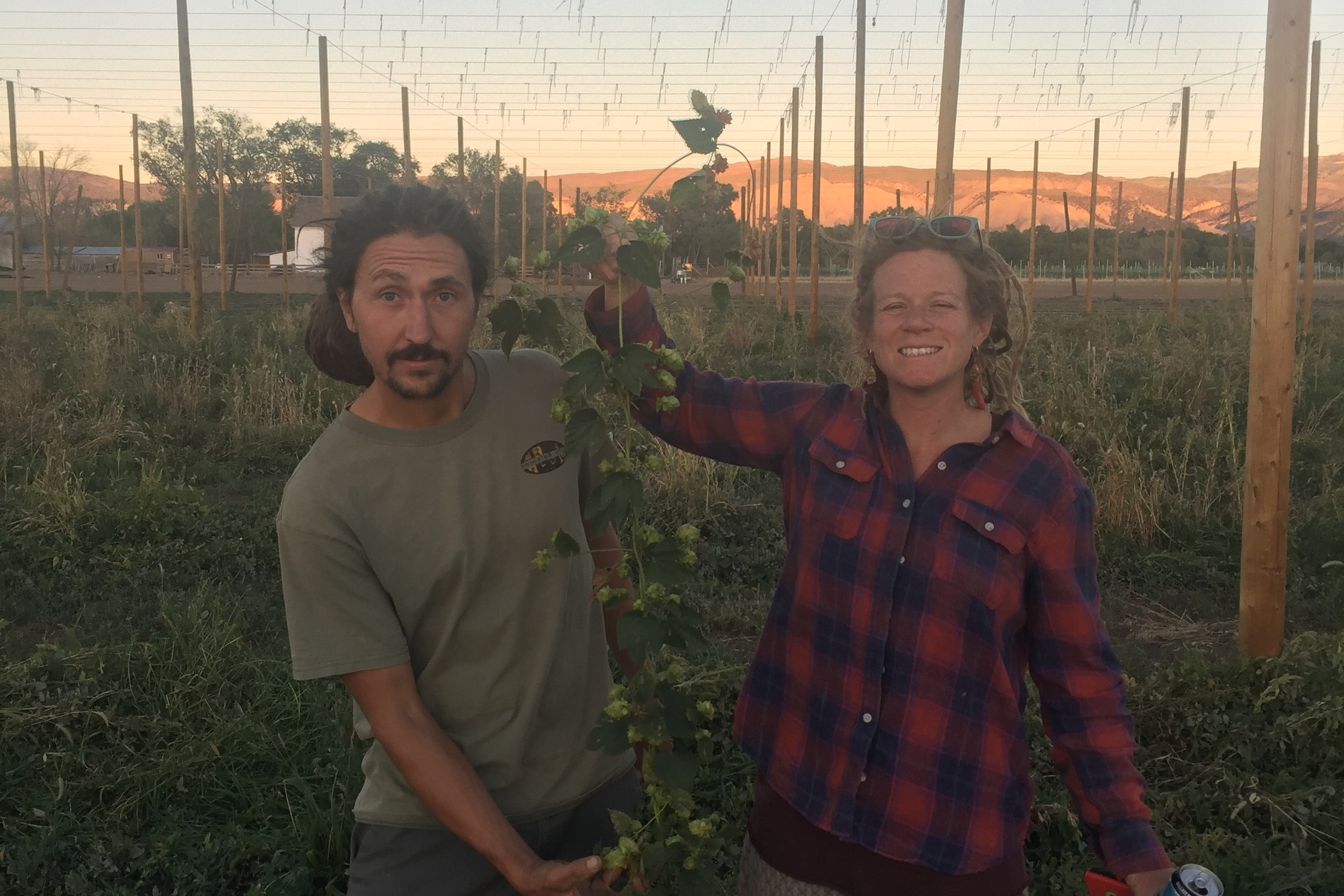The co-owners of Billy Goat Hops Farm, Chris DellaBianca and Audrey Gehlhausen  with some of their hops plants before the coronavirus pandemic hit their sales.