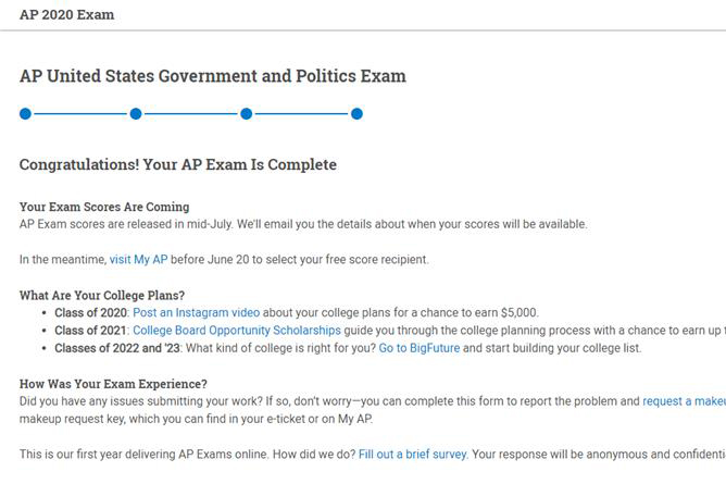 A submission screen for online AP testing.
