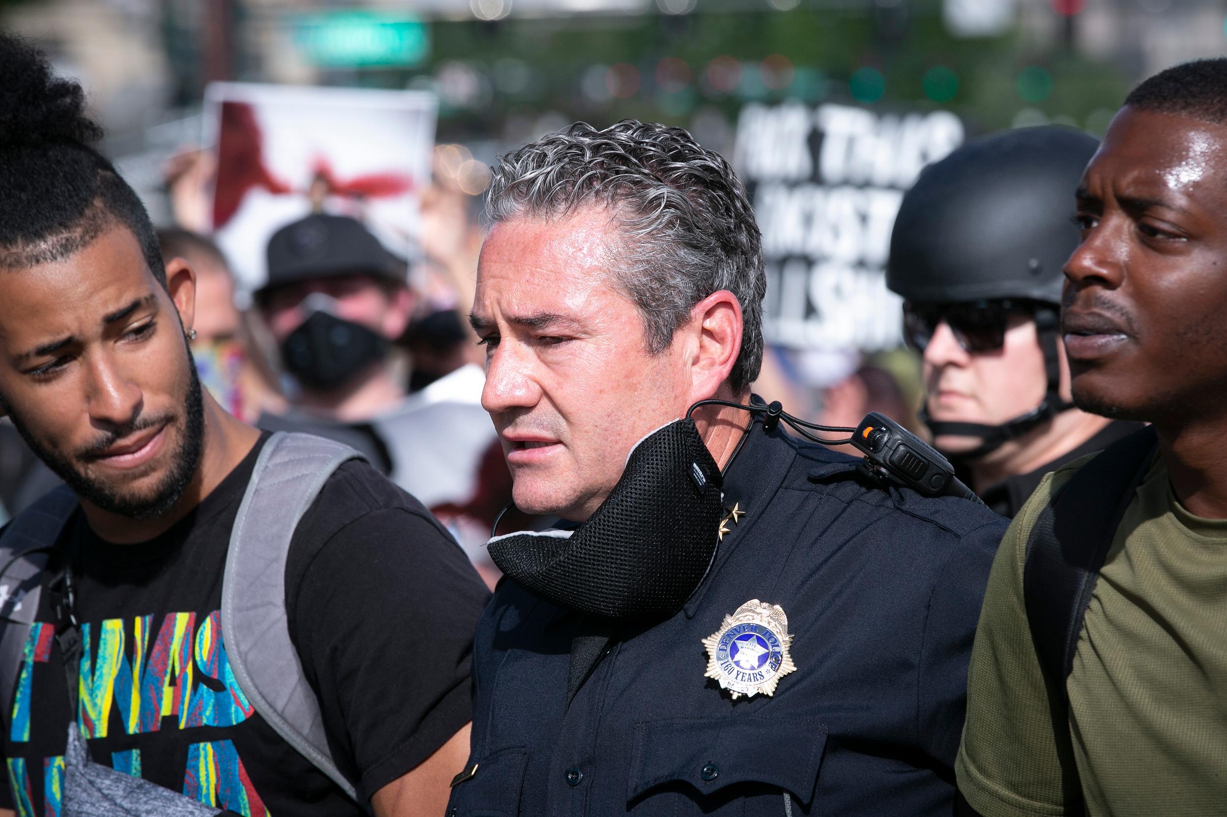 Denver Police Chief Pazen Joins Demonstartors Protesting George Floyd's Death In Minneapolis