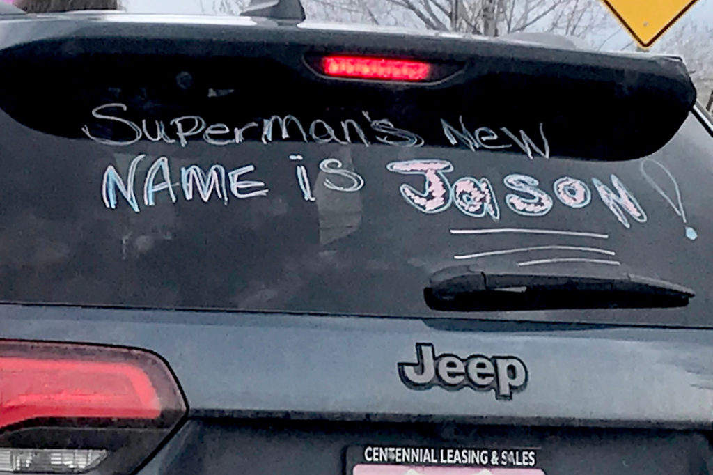 The Jahanian's family car with a message for Jason