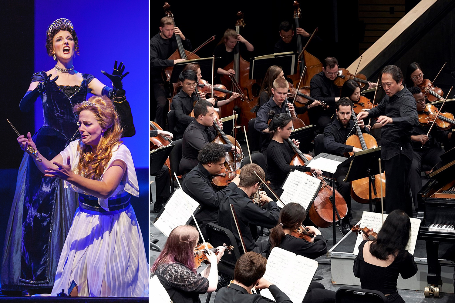 Jeni Houser and Katherine Manley sing with Central City Opera (left), Scott Yoo conducts Colorado College Summer Music Festival Fellows (right)