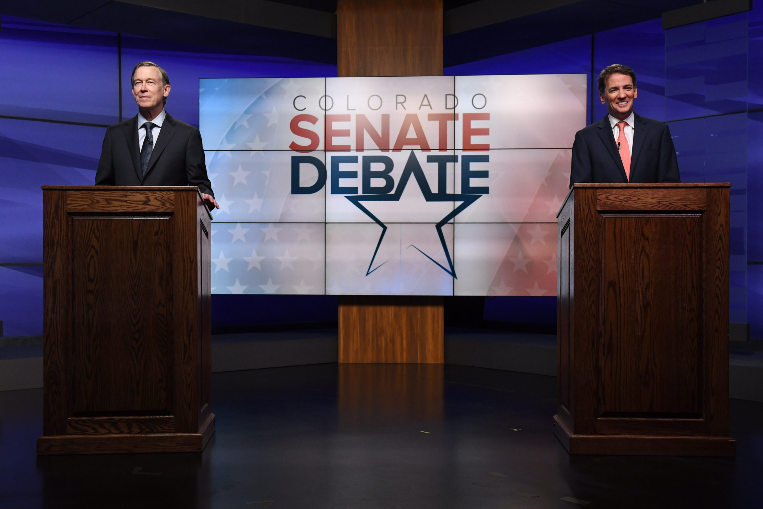 Former Colorado Gov. John Hickenlooper, left, and former state House speaker Andrew Romanoff get set for a debate in the studio of Denver7 in Denver on Tuesday, June 16, 2020. The debate, held ahead of the Democratic primary, was sponsored by The Denver Post, Colorado Public Radio News, Denver7 and the University of Denver's Center on American Politics. The winner of the June 30 primary will go on to face incumbent Republican Colorado Sen. Cory Gardner in November's general election.
