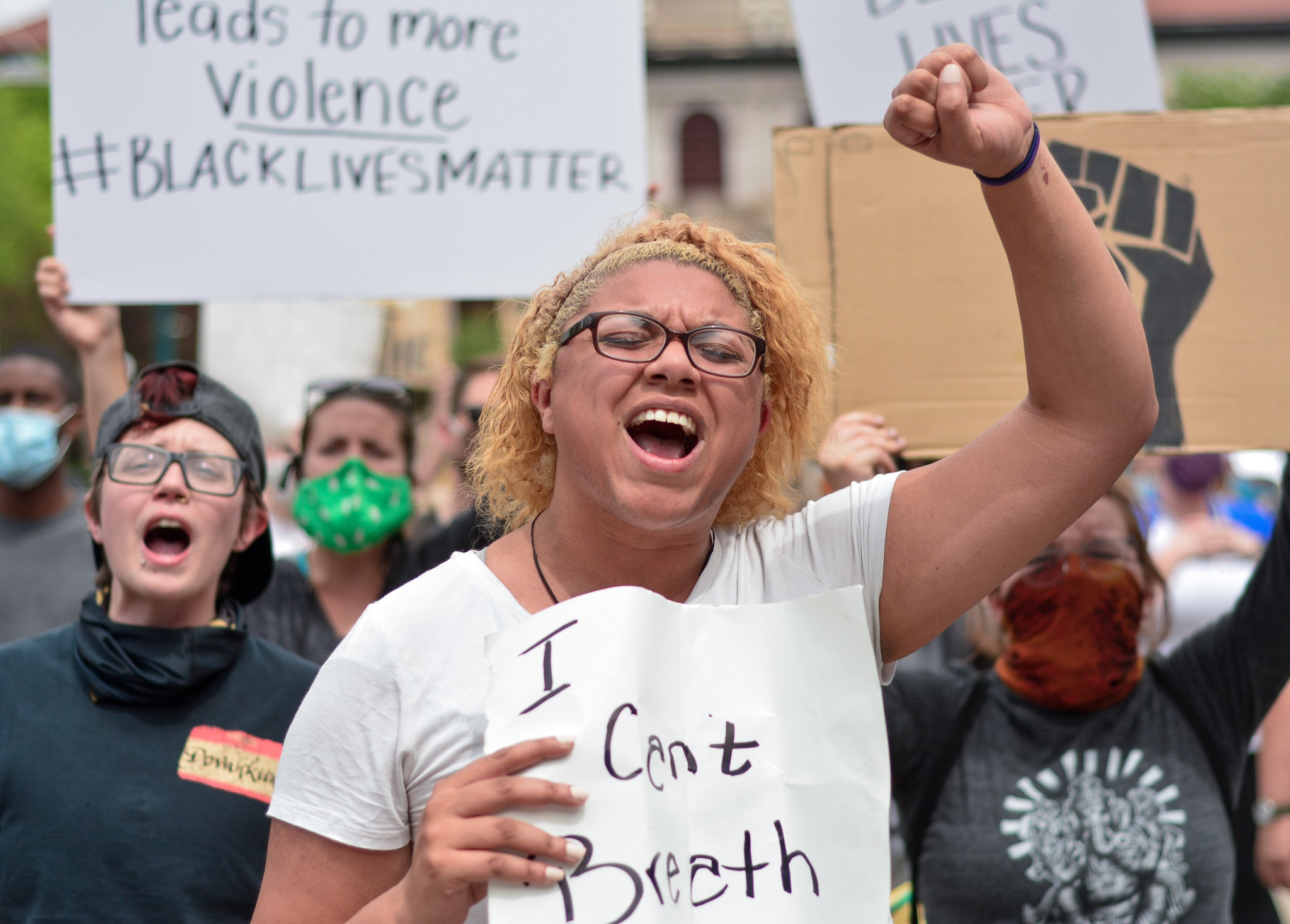 Protesters and activists voice their concerns in downtown Colorado Springs, CO on June 2, 2020 in reaction to the death of George Floyd. Several peaceful protesters marched and gathered in the downtown area, crossing streets as they marched.