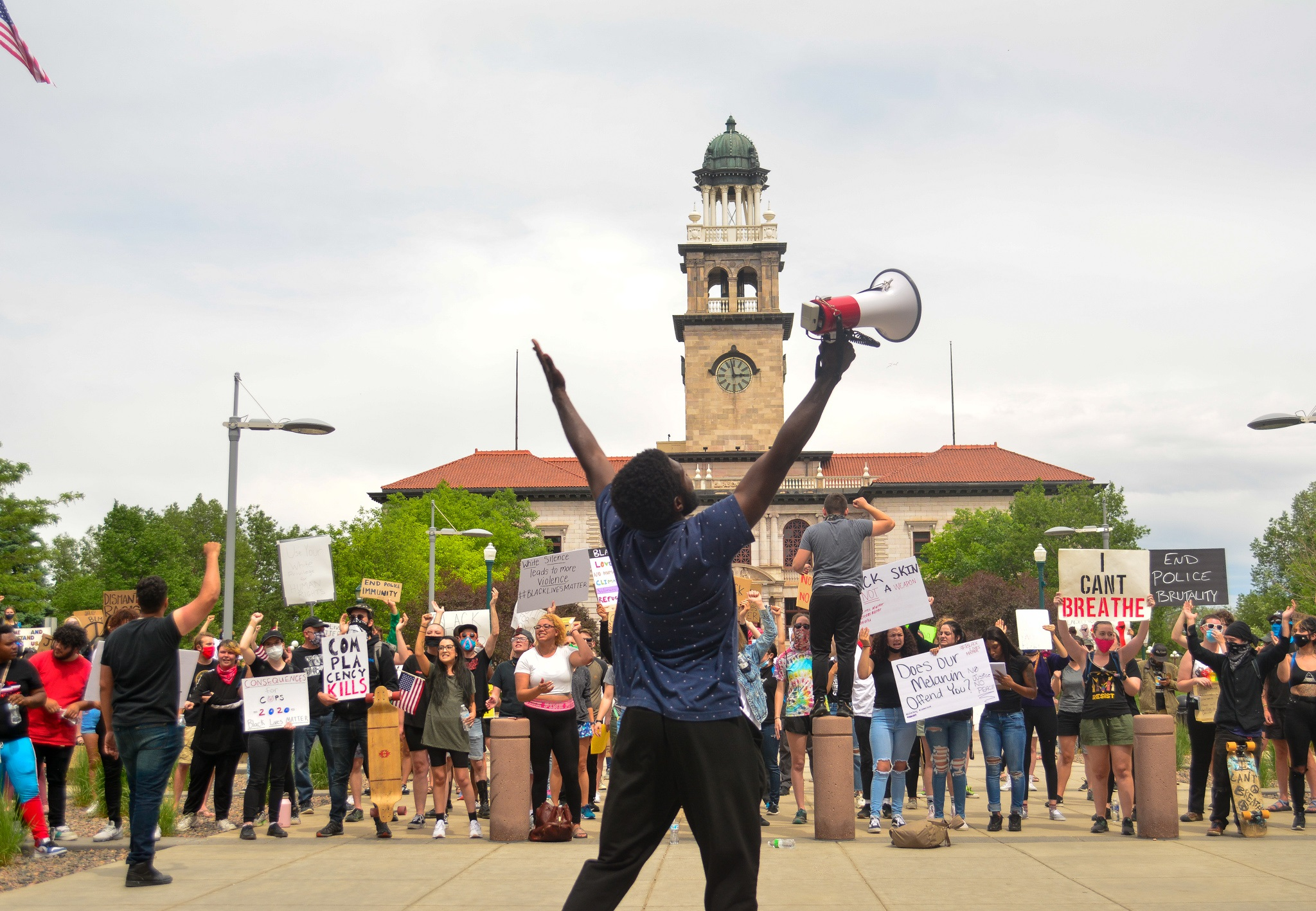 """Activist and protest organizer, Charles Johnson became inspired as he leads early 200 protesters make their voices heard in front of the Terry R. Harris Judicial Complex in downtown Colorado Springs, CO on June 2, 2020 to bring attention to the death of George Floyd. """"It's been awesome,"""" said Johnson in reference to loud but peaceful protest. Floyd's death at the hands and knee of a Minnesota police officer has sparked a national protest against police brutality."""