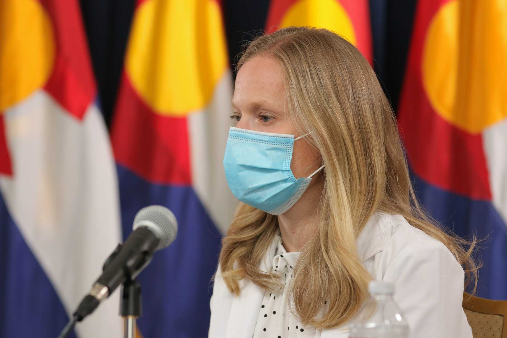 State Epidemiologist Dr. Rachel Herlihy speaks at the press conference where Gov. Jared Polis announced a statewide mask order on July 16, 2020.