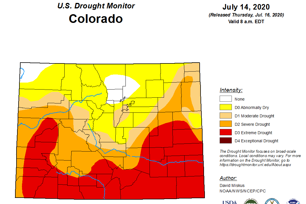 The July 14 Colorado drought map from the U.S. Drought Monitor.