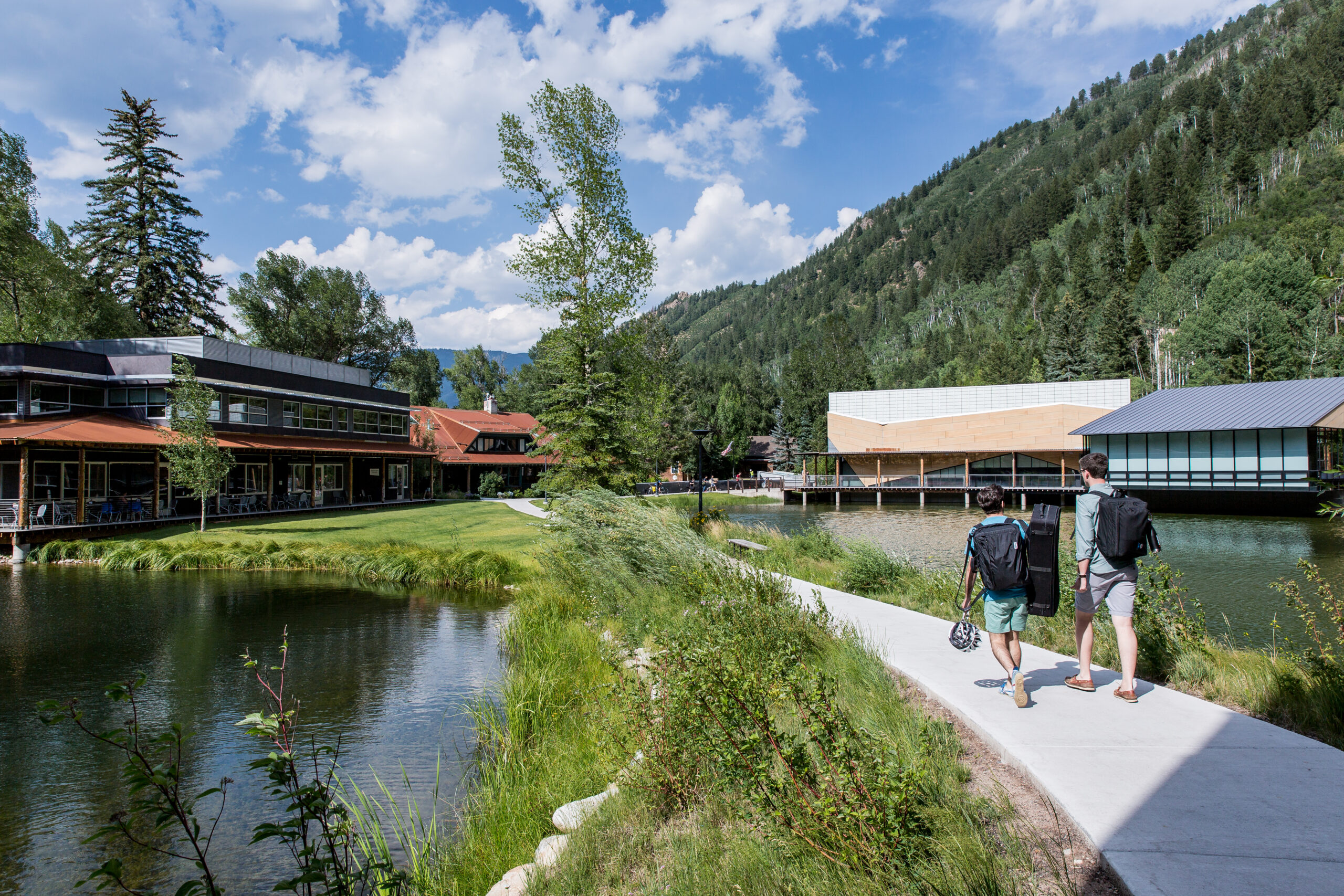 Students walk on the Bucksbaum Campus of Aspen Music Festival and School in 2018