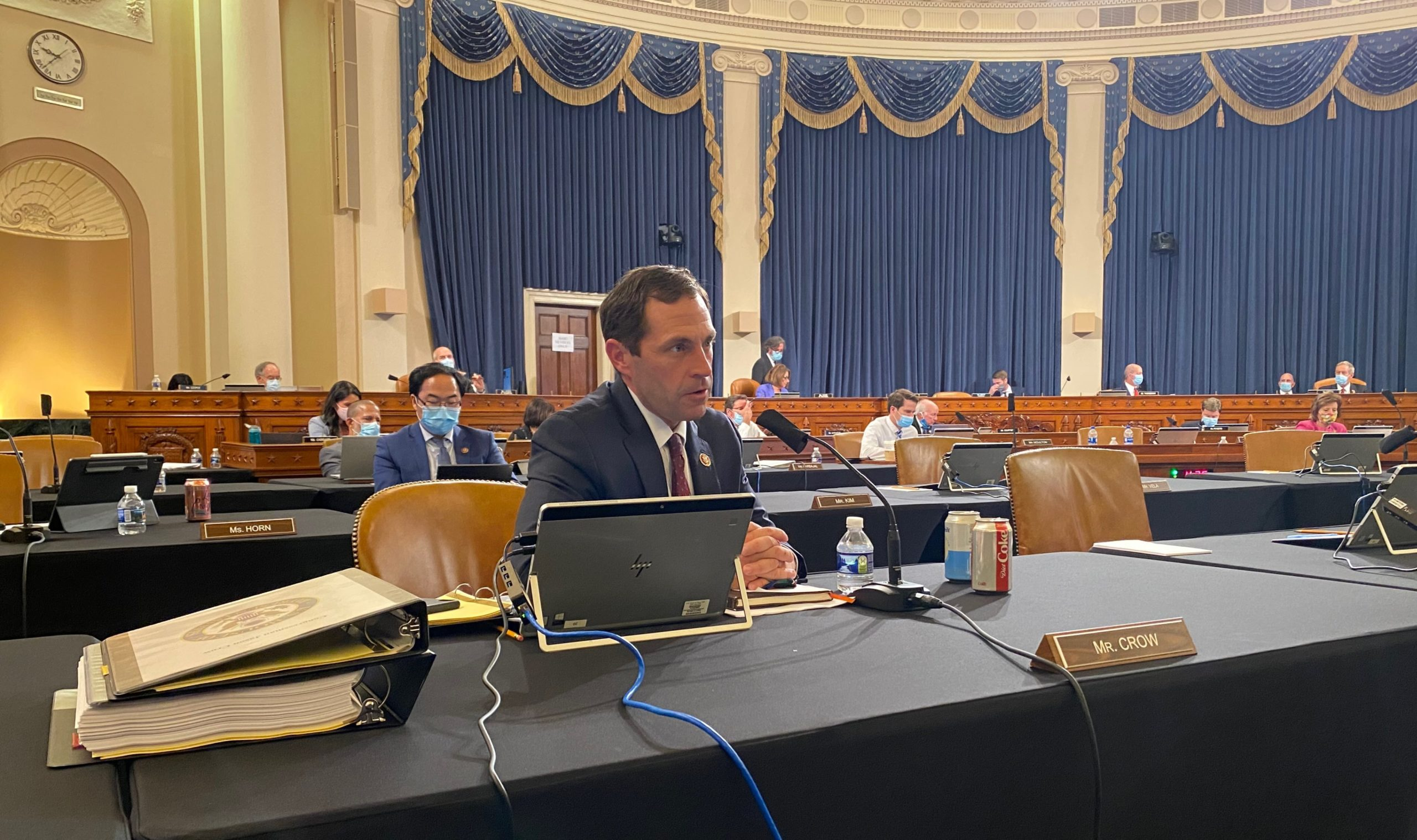 Rep. Jason Crow speaks at the House Armed Service Committee hearing on the NDAA.