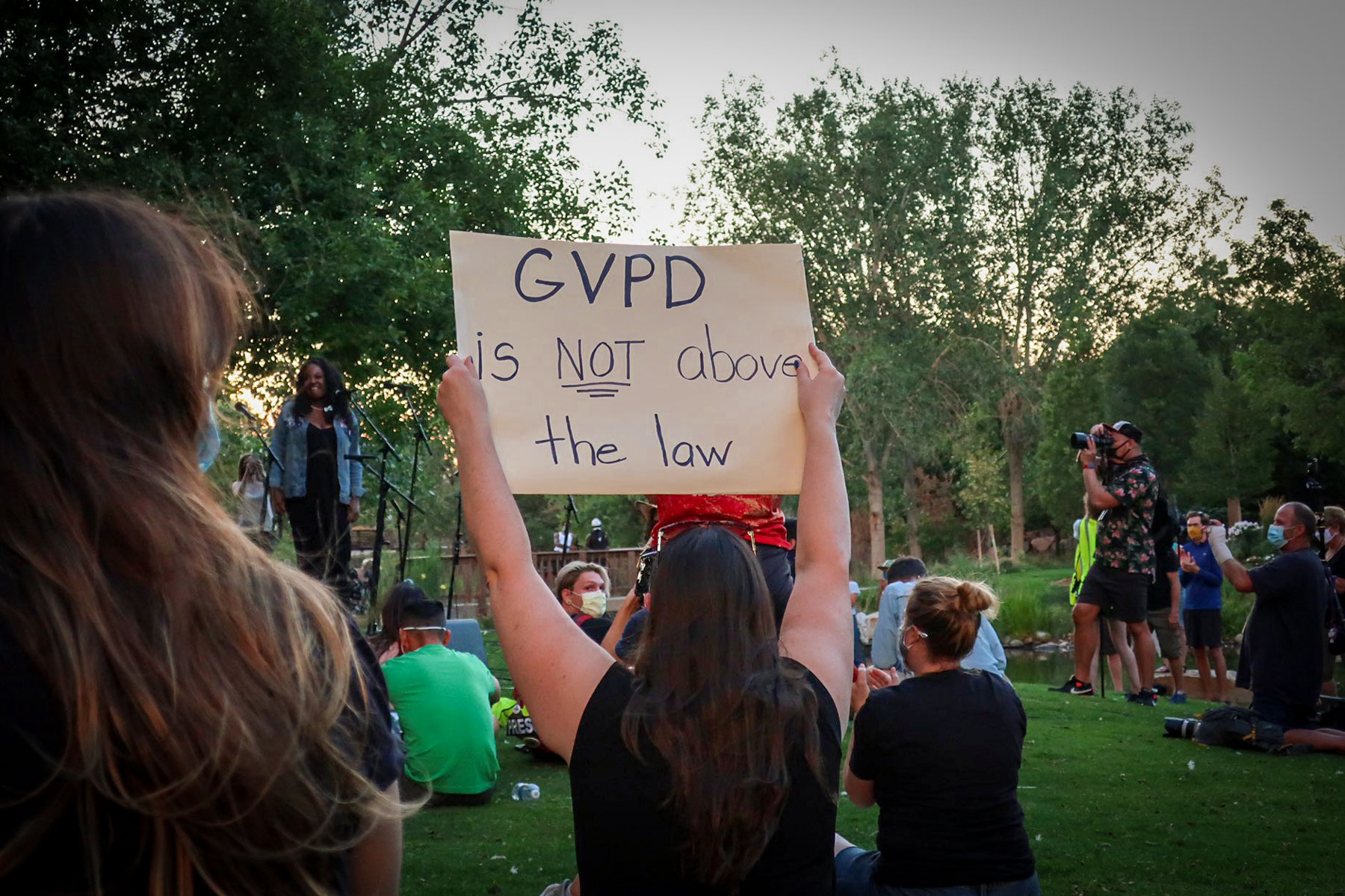 Protesters outside Greenwood Village city hall, July 21, 2020.