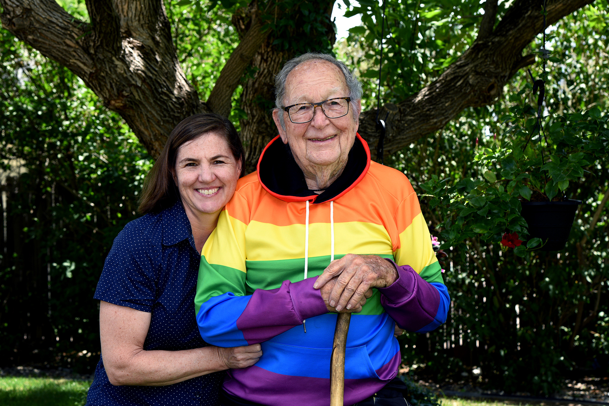 Ken Felts and his daughter, Rebecca Mayes, at home in Arvada. Now 90, Felts came out to his daughter, then on his public Facebook page in June, Pride month. He's received thousands of supportive messages from around the world.