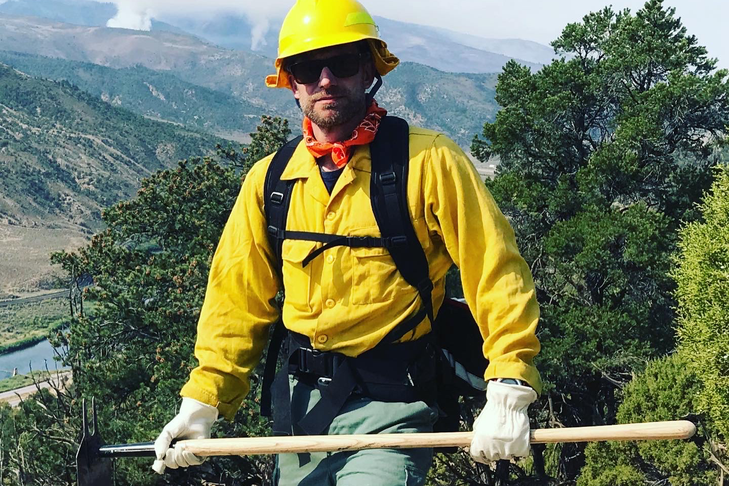 State Natural Resources Director Dan Gibbs out in the field with his Grizzly Creek fire crew.
