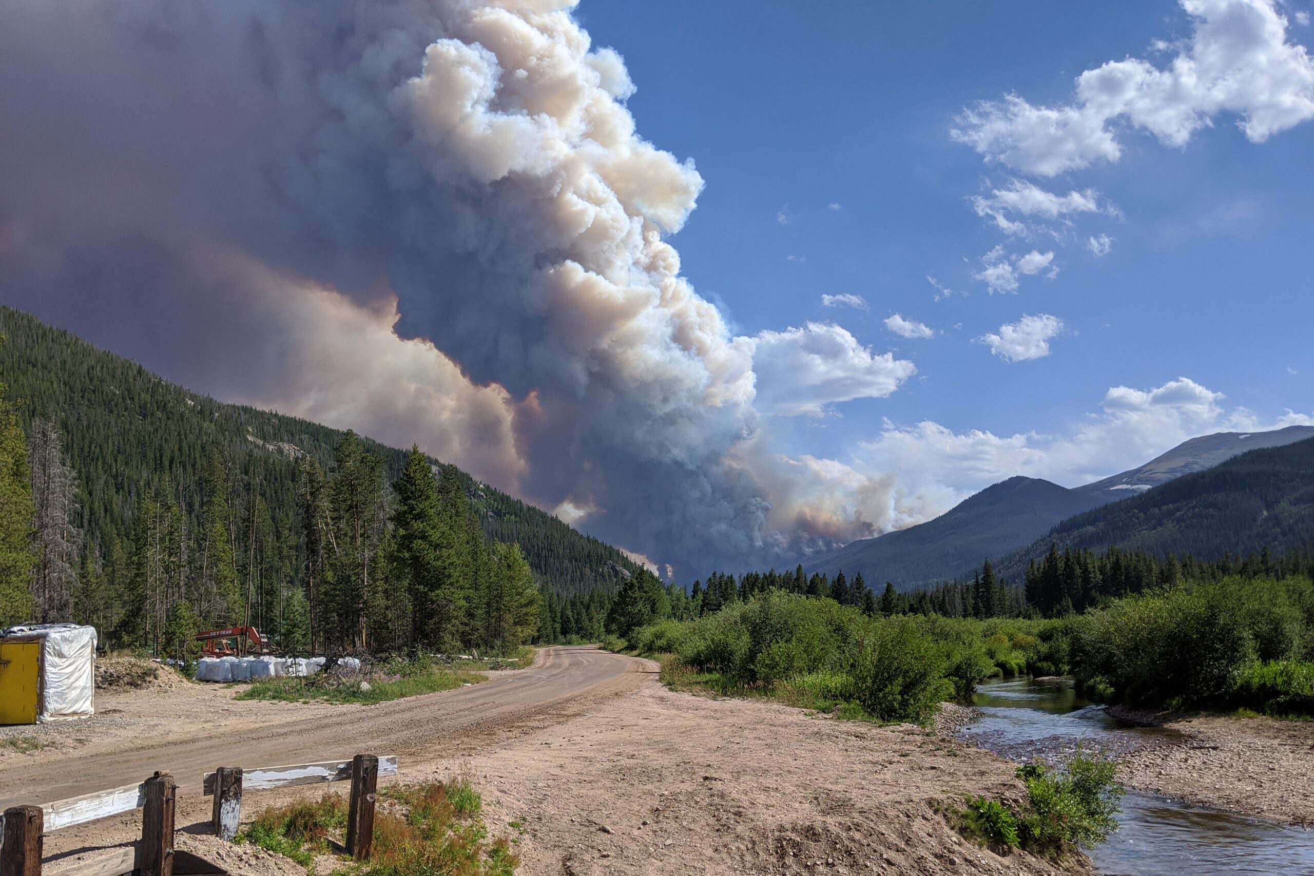 Smoke billows from the Cameron Peak Fire north of Rocky Mountain National Park on Aug. 13, 2020.