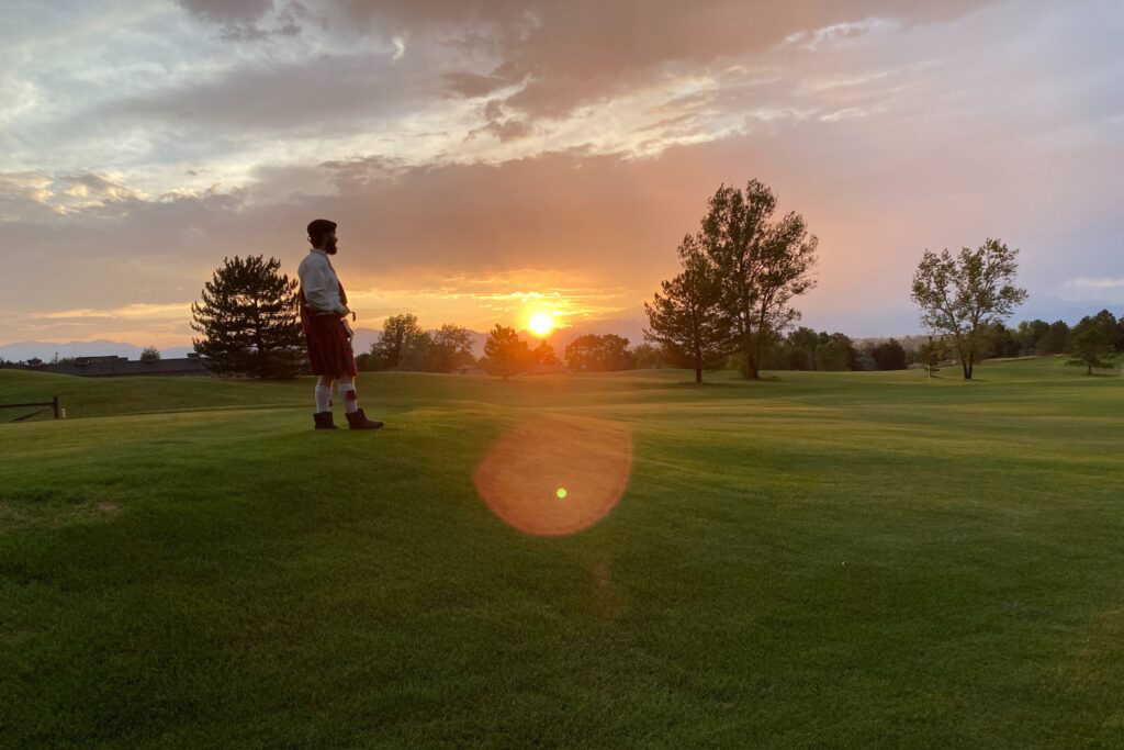 """Actor Brian Kusic in the Catamounts' production, """"The Rough,"""" on Legacy Ridge Golf Course in Westminster on Aug. 26, 2020."""