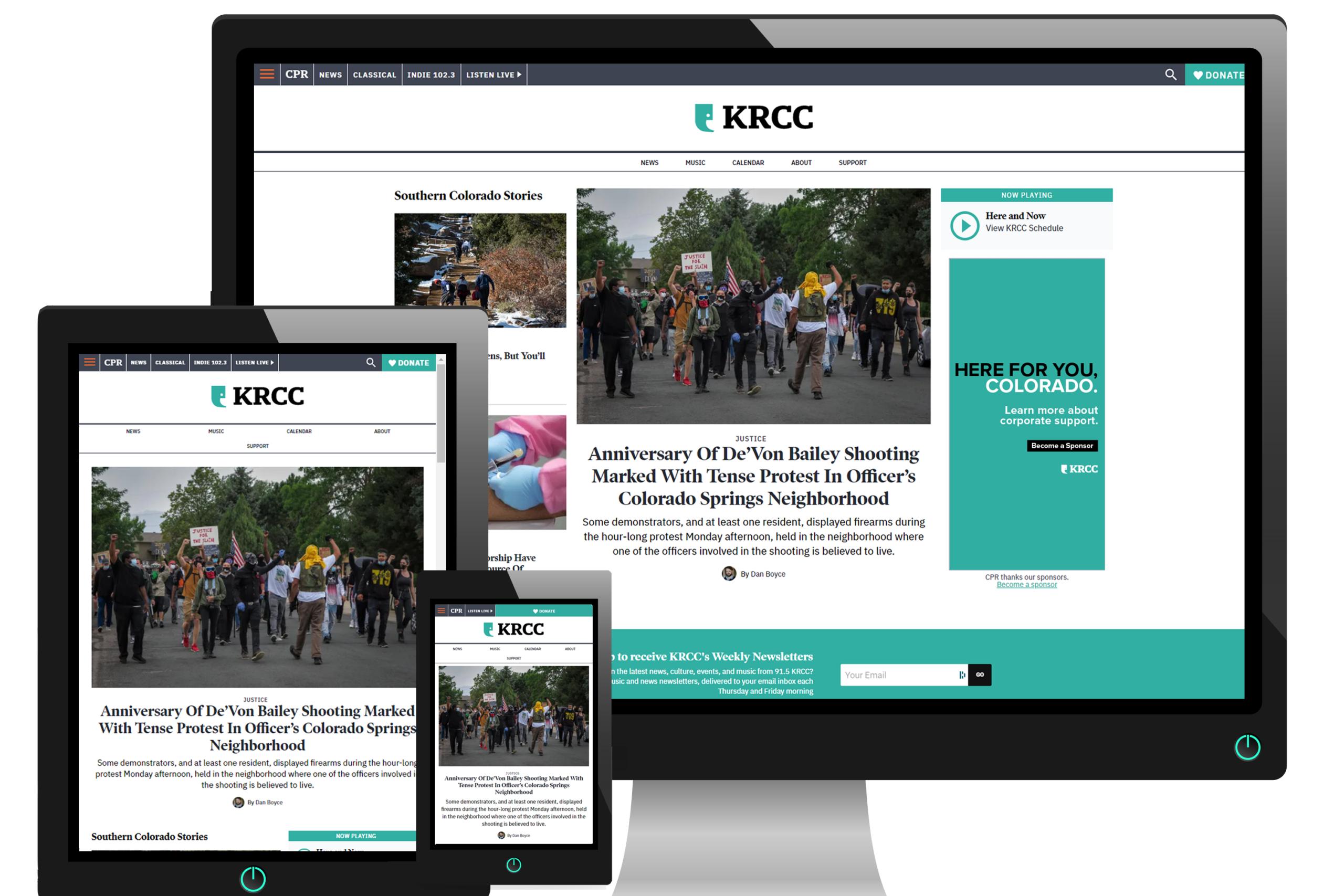 KRCC new homepage mockup
