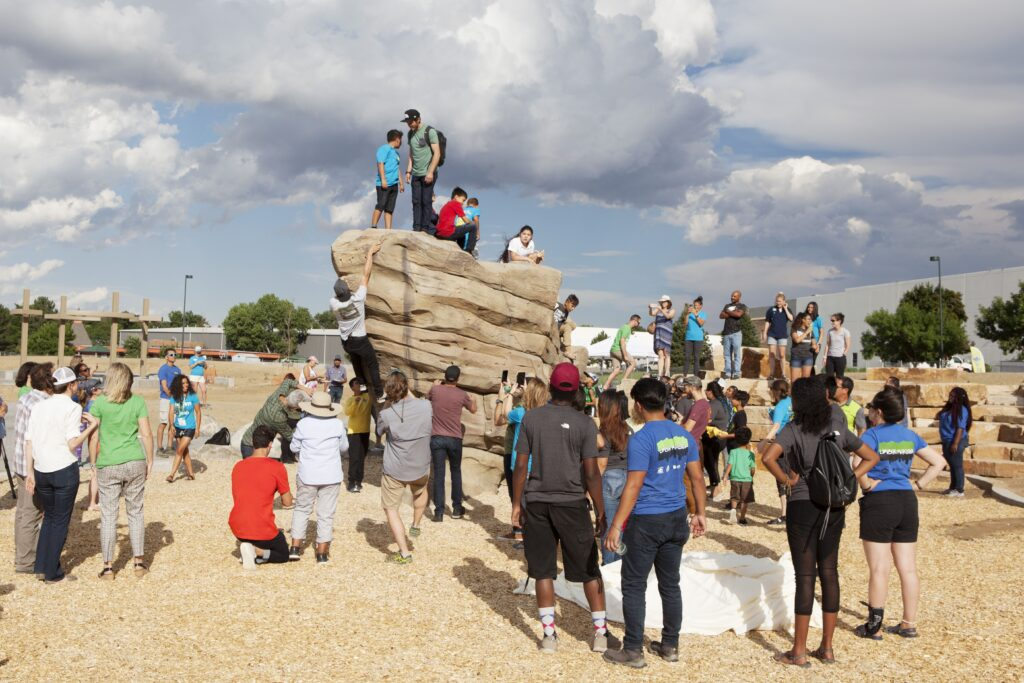 Opening celebration of outdoor boulder at Montbello Open Space Park