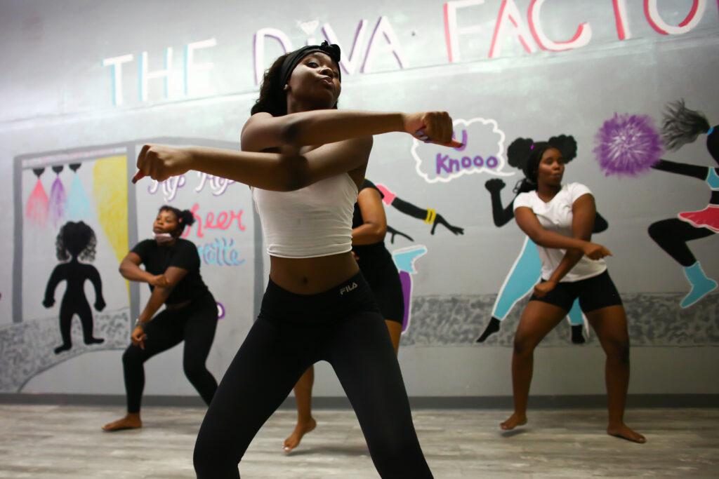 Platinum Divas dance group practices