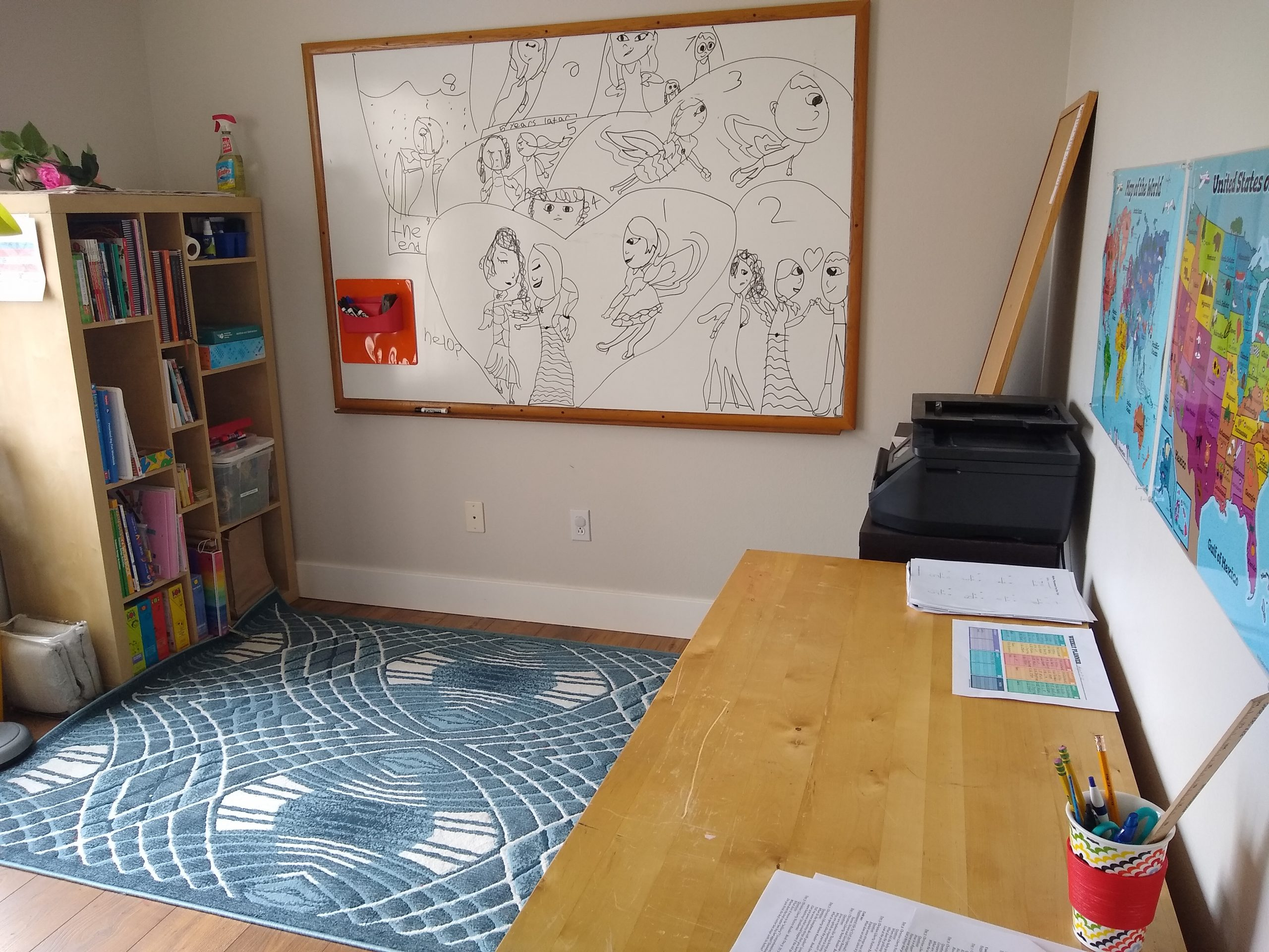 The classroom Mary Webster-Walsh has created for her two daughters. Neither will be attending a public school in-person this fall as a result of the COVID-19 pandemic.