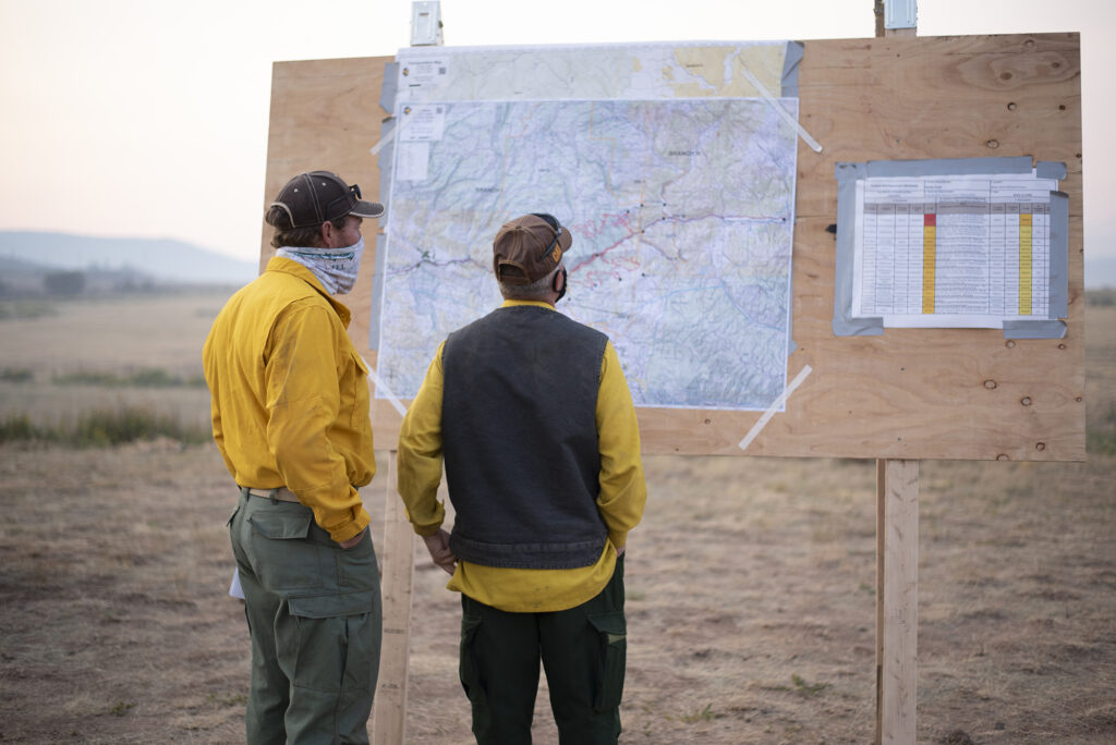 An updated map of the fire is posted each morning.