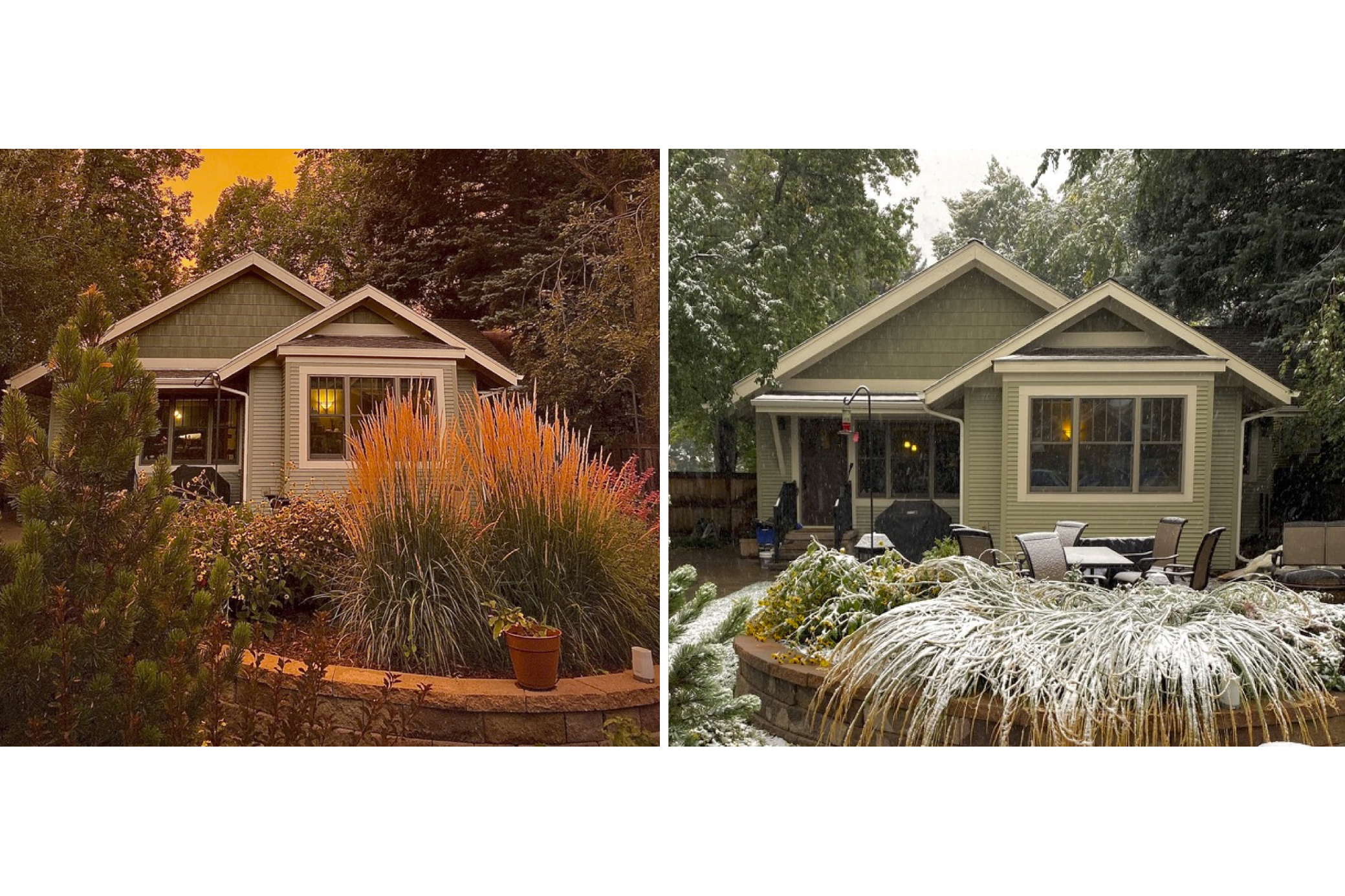 Orange skies from fire and smoke, the day before snow fell on Fort Collins on Sept. 8, 2020. This before-and-after backyard shot was taken by Colorado State University professor Scott Denning.